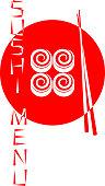 Red logo of the Japanese sushi restaurant isolated on white background. Sushi menu. Vector illustration.