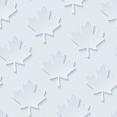 Canadian Red maple leaves seamless wallpaper pattern. 3d tileable cut out paper background.
