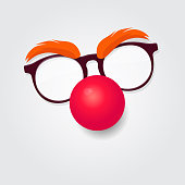 Red nose day. Carnival goggles with a red nose. Design element for  or emblem