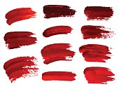 Red oil brush strokes similar to blood for design, element for halloween. Vector illustration.