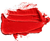 Red oil (lipstic) texture paint stain brush stroke isolated on transparent background, eps 10 vector illustration.