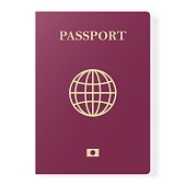 Red passport isolated on white. International identification document for travel. Vector illustration