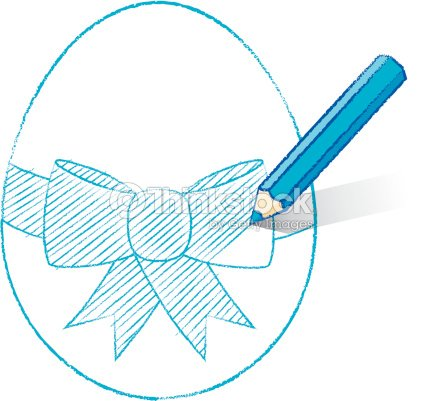 Red Pencil Shading Easter Egg With Bow Vector Art
