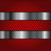 Red perforated background with shiny stainless steel plates. Diamond shape holes. Vector 3d illustration