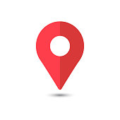 Red Pin location icon. iconic symbol, on transparency grid.  Vector Iconic Design.