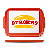 Red Plastic Tray Salver Vector. Classic Rectangular Red Plastic Tray. Good For Advertising, Branding Design. Top View. Restaurant, Fast Food Close Up Tray Isolated