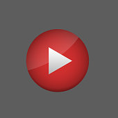 Red play button. Video stream concept, Vector illustration