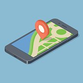 Red pointer on smartphone map. GPS navigation concept. Isometric vector illustration