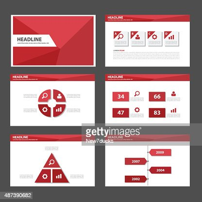 red polygon infographic presentation template element flat design, Powerpoint templates
