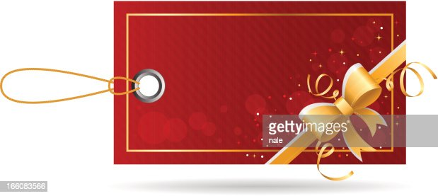 Red price tag with golden bow : Vector Art