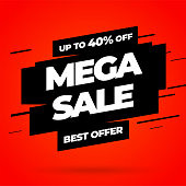 Red Sale banner template design, Mega sale special offer. End of season special offer banner. Vector illustration.