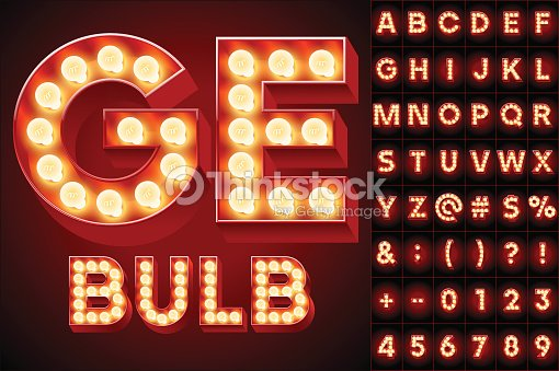Red Realistic Old Lamp Alphabet For Light Board stock vector