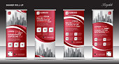 Red Roll up banner template vector, flyer, advertisement, x-banner, poster, pull up design, display, layout vector illustration
