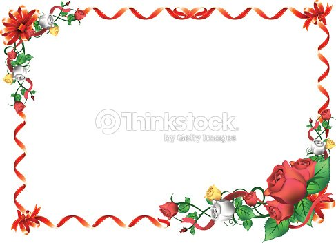 Red Rose Flower And Ribbon Frame With Bow Vector Art | Thinkstock