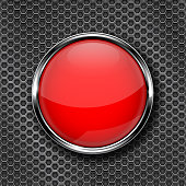 Red round glass button with chrome frame. Vector 3d illustration on metal perforated background
