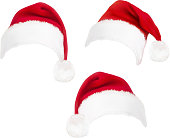 red santa hats. Vector.