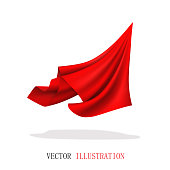 Red Satin Fabric Flying. Abstract Dynamic Cloth.
