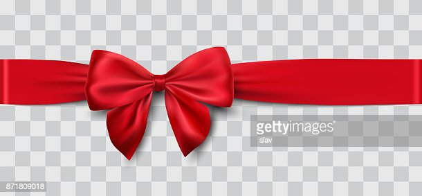 red satin ribbon and bow : Vector Art