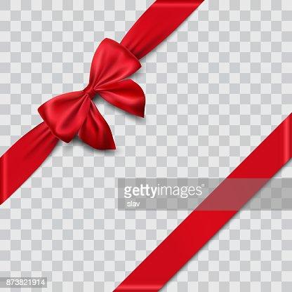 red satin ribbon and bow : Vector Art