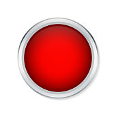 Red shiny button with metallic elements isolated on white background