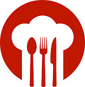 red sign with chef hat and spoon, fork, knife
