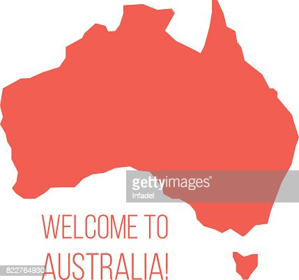 red silhouette of Australia with inscription welcome : stock vector