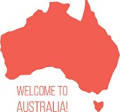 red silhouette of Australia with inscription welcome. concept of world tour, international tourism and invitation travelers. isolated on white background. trendy modern design vector illustration