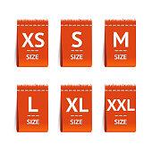 Red Size Clothing Labels Set. Vector illustration