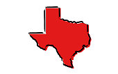 Stylized red sketch map of Texas illustration vector