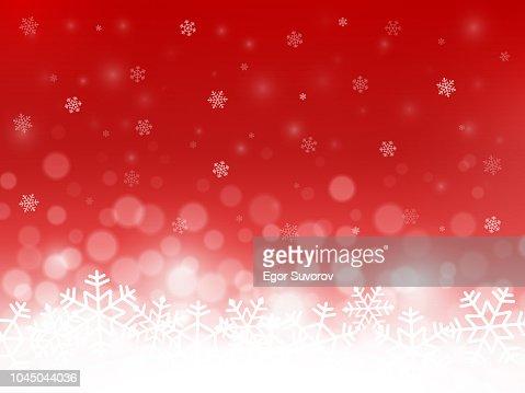 Red Snow Hintergrund. Schneeflocken mit Partikeln und Bokeh. Unscharfen Hintergrund. Weihnachten Hintergrund. Urlaub-Winter-Thema. Vektor-illustration : Vektorgrafik