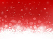 Red snow background. Snowflakes with particles and bokeh. Blurred backdrop. Christmas background. Holiday winter theme. Vector illustration.