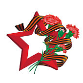 Red soviet star with carnation bouquet and Saint George ribbon to 9 May Victory Day Russian national holiday celebration greeting card or banner with vector flowers illustration isolated on white