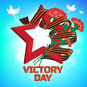 Red soviet star with carnation bouquet and Saint George ribbon to 9 May Victory Day Russian national holiday celebration greeting card or banner vector flowers illustration and text