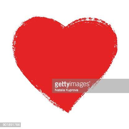 Red speech bubble, hand drawn heart element. Vector background. : Vector Art