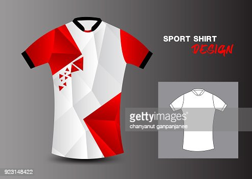 Red Sport Shirt Design Template For Soccer Jersey Football
