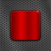 Red square plate on metal perforated background. Vector 3d illustration