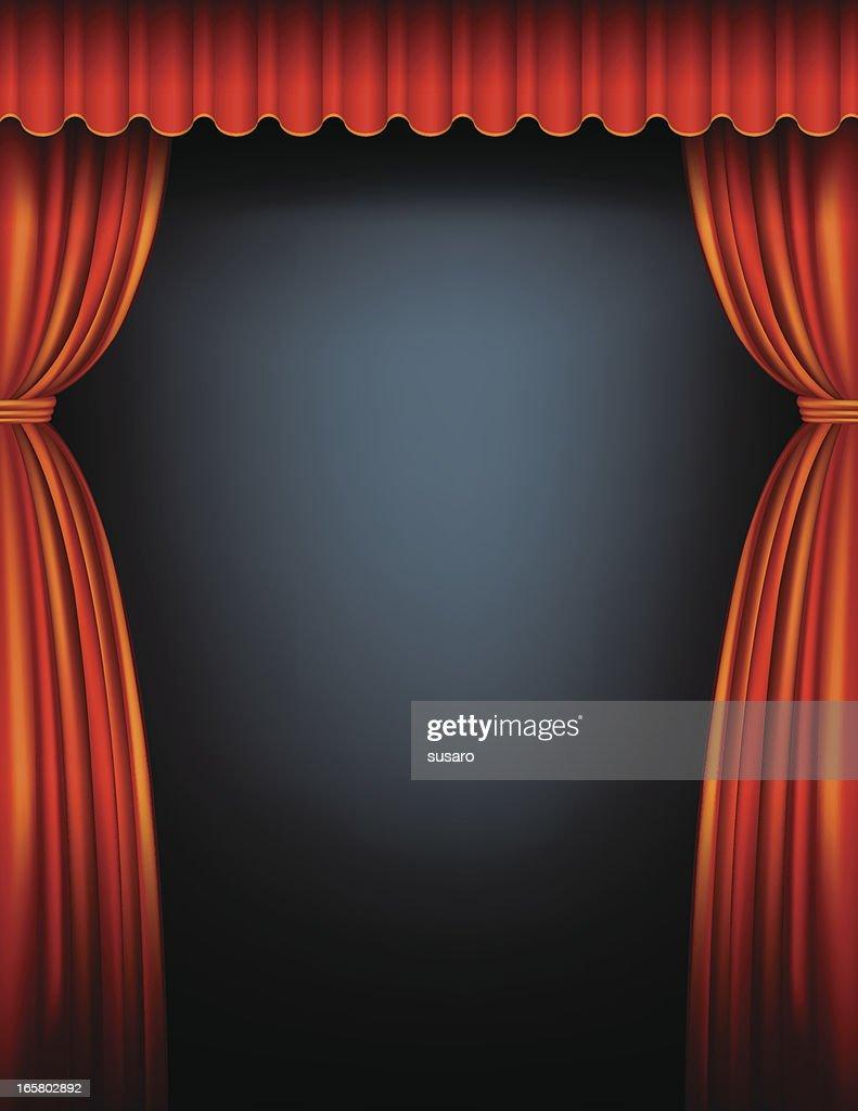 Rojo cortina de escenario arte vectorial getty images - Cortinas para escenarios ...