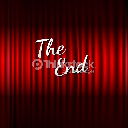 Red Stage Curtain With The End Text Arte Vetorial