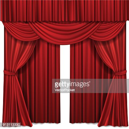 Red stage curtains realistic vector illustration for theater or opera scene performance : stock vector