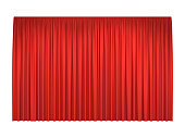 Red stage curtains for interior performance event on theatrical stage or in concert hall, isolated on white background. Vector illustration