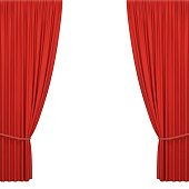 Red stage curtains isolated on white background. Realistic open theatrical cinema drapes for interior performance event on theatrical stage or in concert hall. Vector illustration