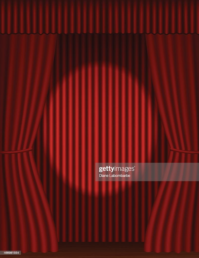 Stage curtains spotlight - Red Stage Curtains With Tieback And Wood Floor And Spotlight Vector Art