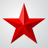 Red star 3d icon with shadow on transparent background. Vector illustration for USSR design