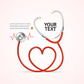 Red Stethoscope In Shape Of Heart with Place for Your Text. Vector illustration