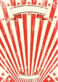 Red and cream retro sunbeams background. A vintage and retro background for your entertainment