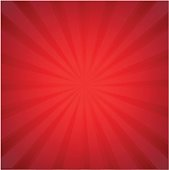 Red Sunburst With Gradient Mesh, Vector Illustration