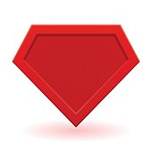 Red superhero template. Halftone dots, shadows. Vector isolated eps 10