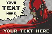Red superhero. Speech bubble. Pop-art comic background