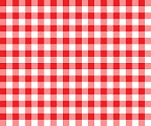 Red table cloth background seamless pattern. Vector illustration of traditional gingham dining cloth with fabric texture. Checkered picnic cooking tablecloth.