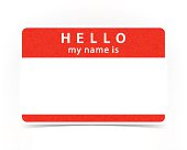 Red color name tag empty sticker HELLO my name is with drop gray shadow on white background.